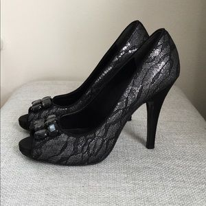Nina Black Open Toe Pumps With Lace Overlay